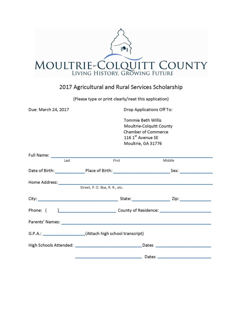 Ag Scholarship Application-page 1 of 3